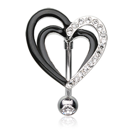 Reverse Top Down Belly Ring. High End Belly Rings. Elvira Love Heart Belly Bar