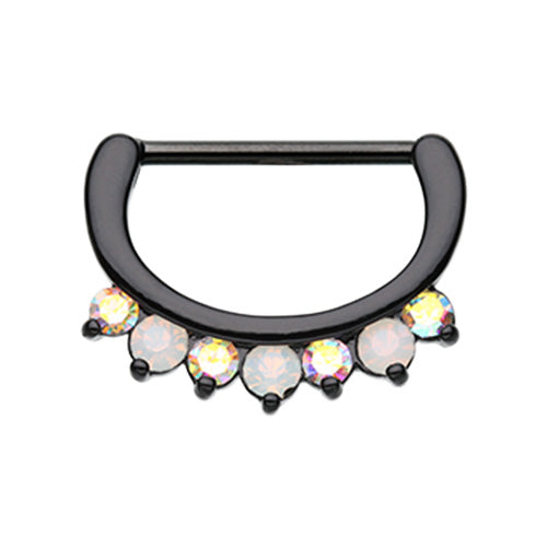 Black Aurora Glitz Nipple Clicker - Nipple Ring. Navel Rings Australia.