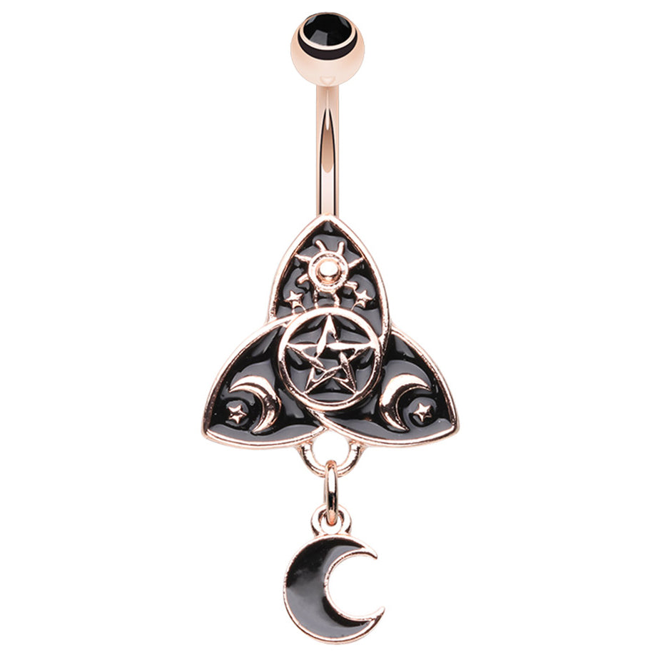Satanic Wiccan Celtic Belly Ring - Fixed (non-dangle) Belly Bar. Navel Rings Australia.