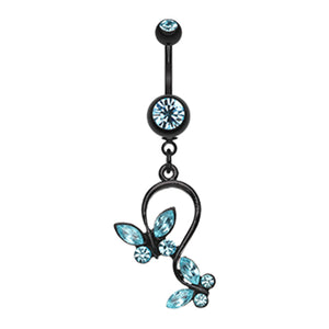 Blackline Fantasy Butterfly Belly Bar - Dangling Belly Ring. Navel Rings Australia.