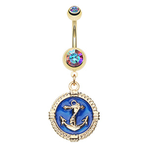 Royal Navy Anchor Coin Belly Dangle - Dangling Belly Ring. Navel Rings Australia.