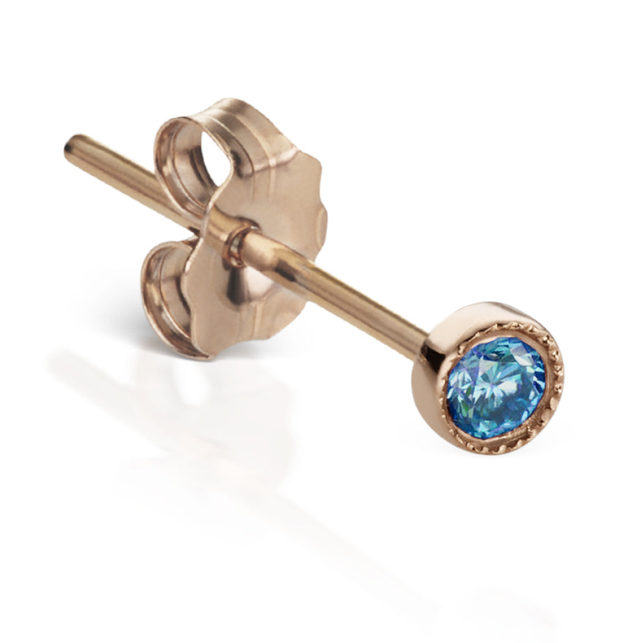 Scalloped Blue Diamond Earstud by Maria Tash in 18K Rose Gold - Earring. Navel Rings Australia.