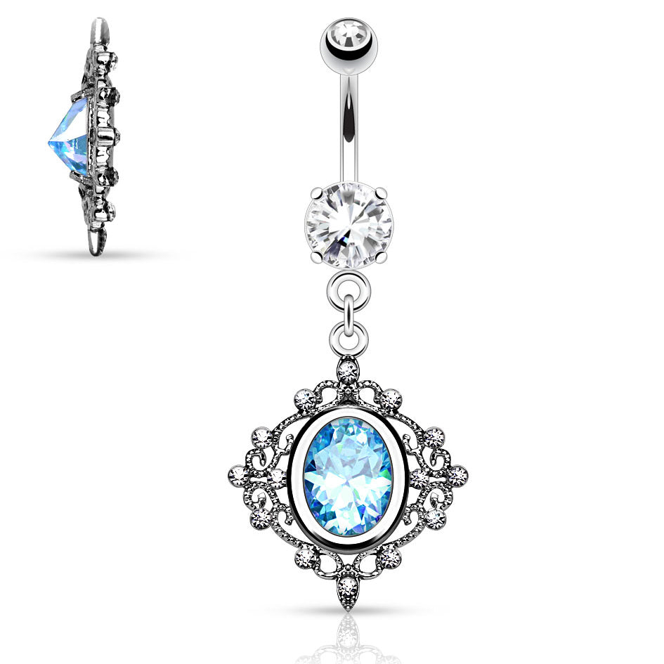 Dangling Belly Ring. Buy Belly Rings. Baroque Filigree Belly Button Bar