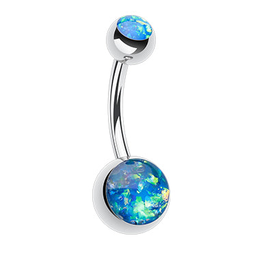 Indigo Blue Steel Opal Gleam Classique Belly Bars