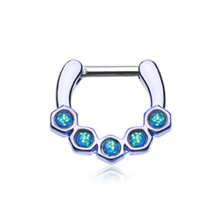 Septum. Cute Belly Rings. Oriana Hex Opal Septum Clicker