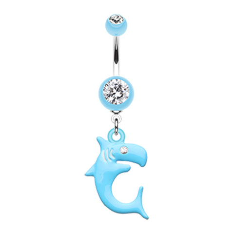 Jaws Shark Attack Belly Piercing Ring - Dangling Belly Ring. Navel Rings Australia.