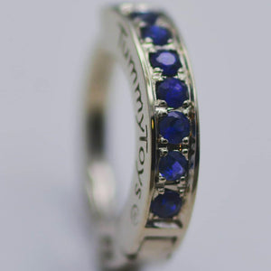 TummyToys®14K White Gold With Blue Sapphire Belly Piercing Ring - TummyToys® Patented Clasp. Navel Rings Australia.