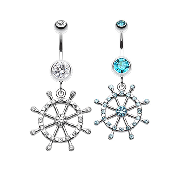 Caribbean Boat Wheel Belly Dangle - Dangling Belly Ring. Navel Rings Australia.