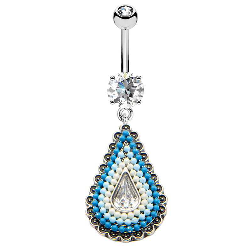 Turquoise Festiva Belly Dangle - Dangling Belly Ring. Navel Rings Australia.