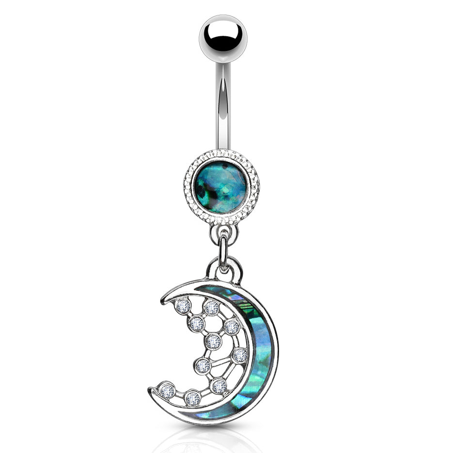 Purusha Sukta Mother of Pearl Inlay Belly Bar - Dangling Belly Ring. Navel Rings Australia.