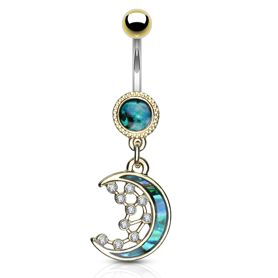Purusha Sukta Mother of Pearl Inlay Belly Bar in Gold - Dangling Belly Ring. Navel Rings Australia.
