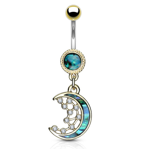 Dangling Belly Ring. Belly Bars Australia. Purusha Sukta Mother of Pearl Inlay Belly Bar in Gold