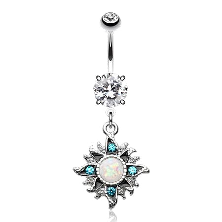 Dangling Belly Ring. High End Belly Rings. Wild Shaman's Opal Sunburst Dangly Belly Bar