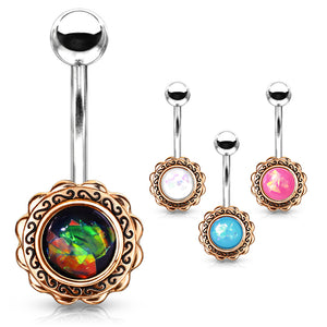 Boêmio Opal Belly Bar in Rose Gold - Fixed (non-dangle) Belly Bar. Navel Rings Australia.