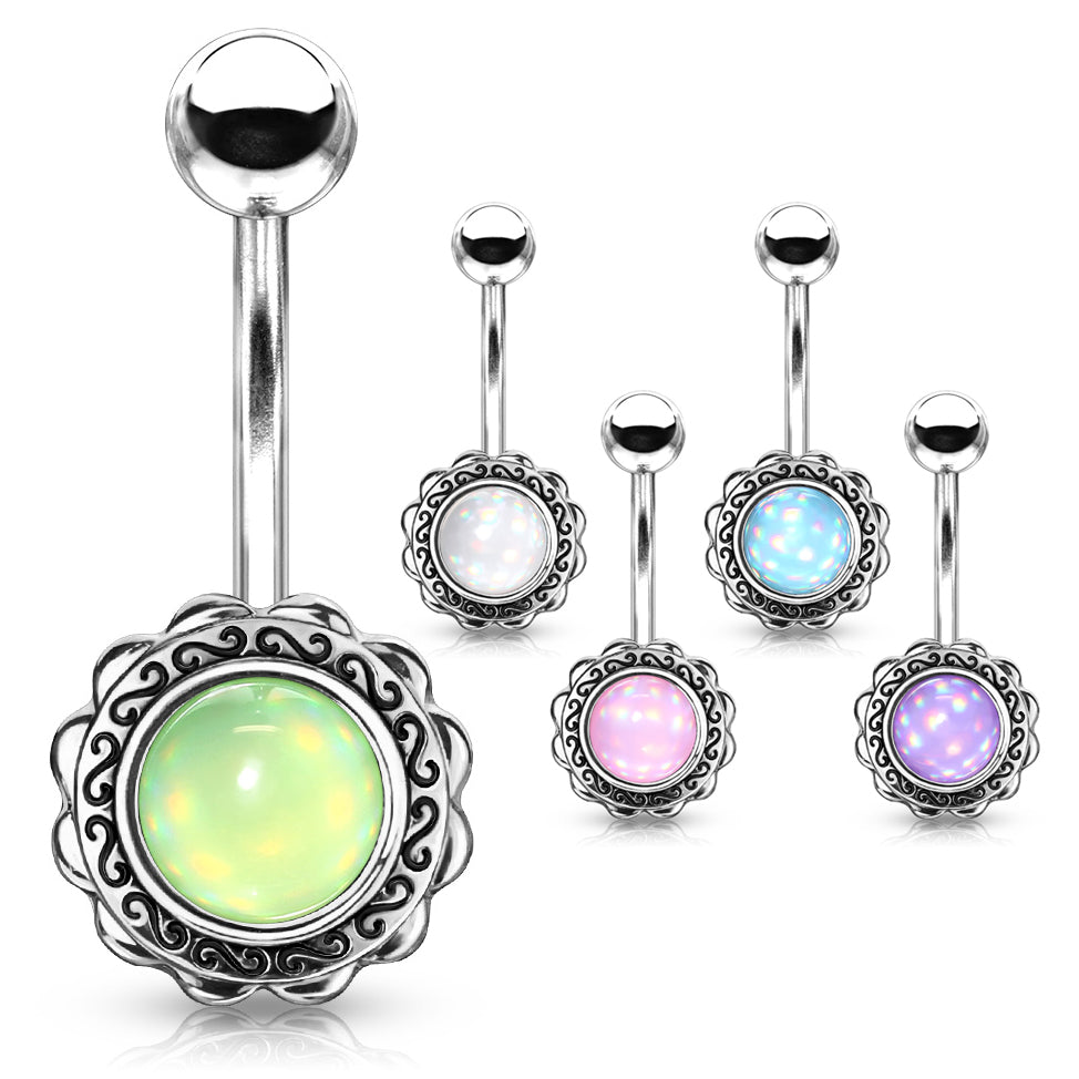 Boêmio Illumination Belly Bar - Fixed (non-dangle) Belly Bar. Navel Rings Australia.