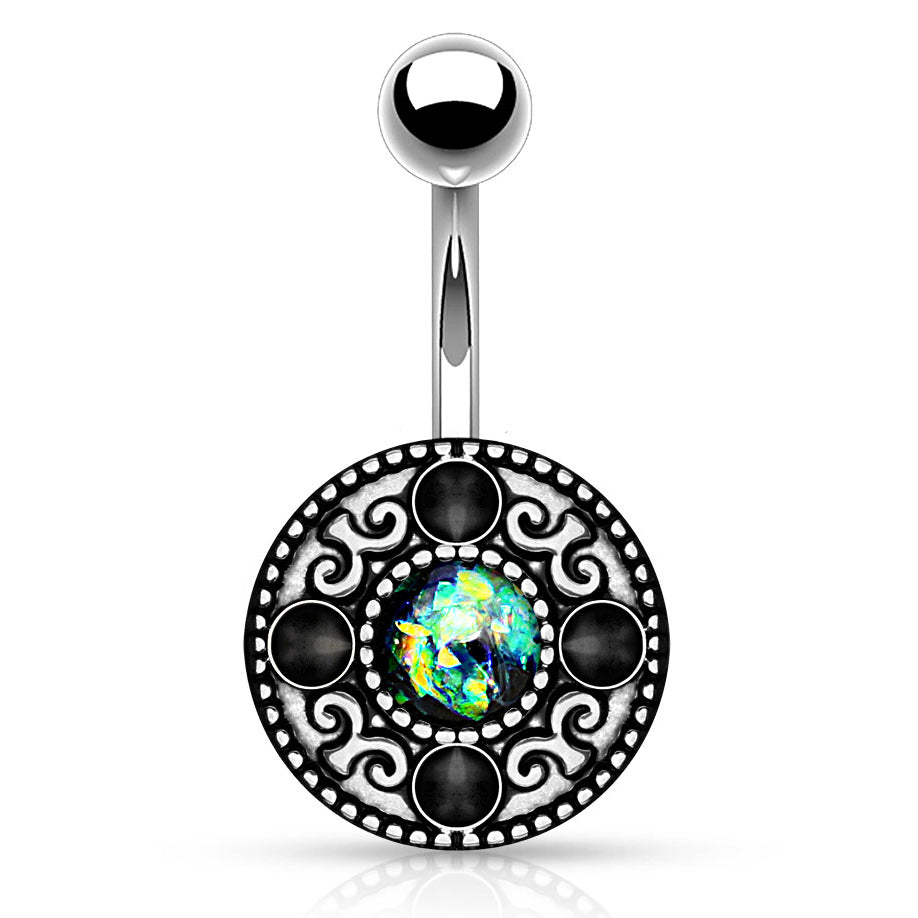 Fixed (non-dangle) Belly Bar. High End Belly Rings. Wild Fire Opal Shield Belly Bar