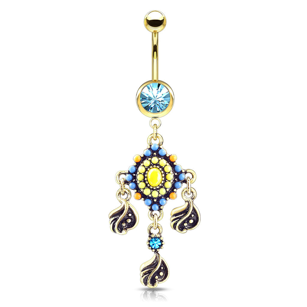 Indie Dream Reverie Belly Dangle in Gold - Dangling Belly Ring. Navel Rings Australia.