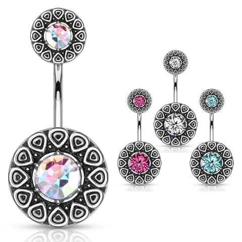 Fixed (non-dangle) Belly Bar. Cute Belly Rings. Tribal Kaja Belly Bar