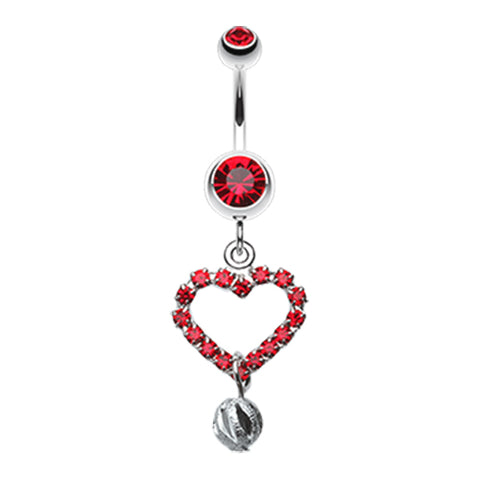 Red Boss Heart Belly Dangle