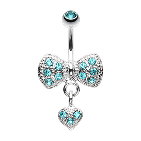 Aquamarine Bow n' Romeo Belly Ring
