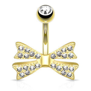Tiny Bow-Tie Belly Bar in 14K Yel. Gold - Fixed (non-dangle) Belly Bar. Navel Rings Australia.