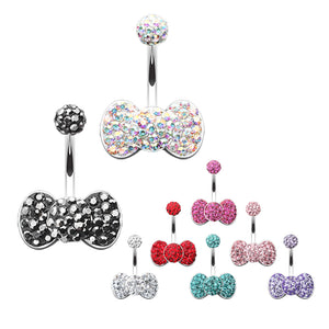 Motleys™ Bow Tie Aficionado Belly Bar - Fixed (non-dangle) Belly Bar. Navel Rings Australia.