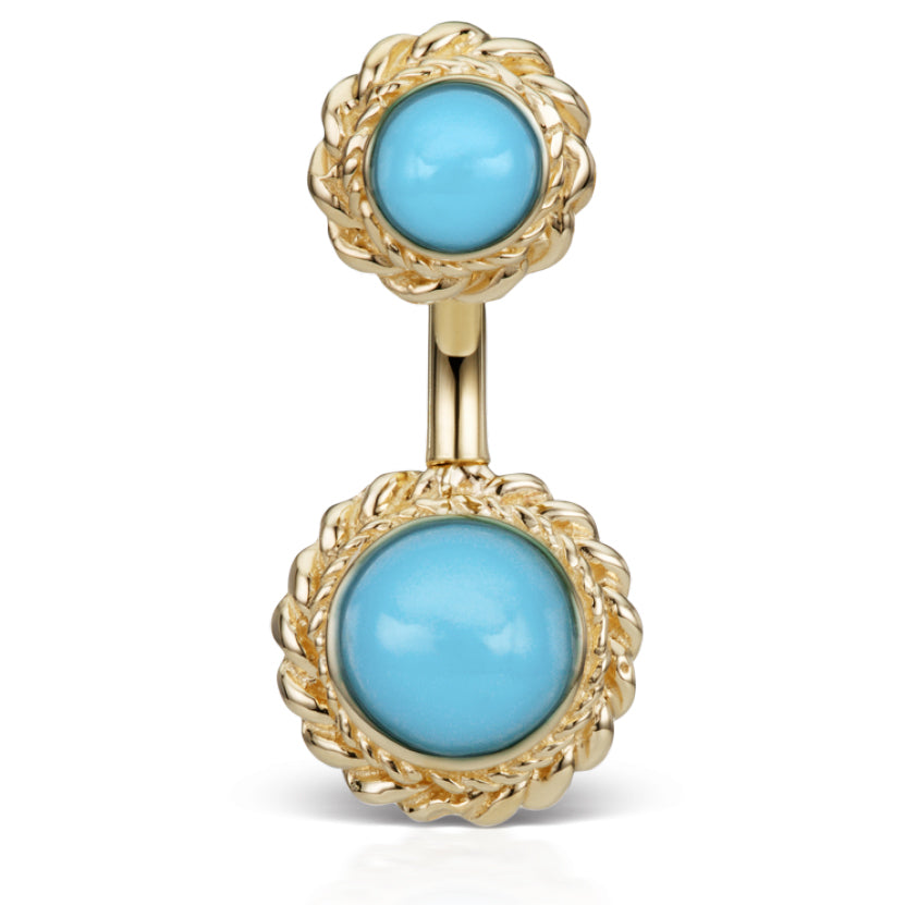 14K Yellow Gold Turquoise Braided Solitaire Belly Ring by Maria Tash - Fixed (non-dangle) Belly Bar. Navel Rings Australia.