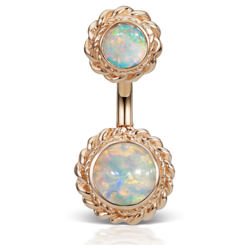 14K Rose Gold Opal Braided Solitaire Belly Ring by Maria Tash - Fixed (non-dangle) Belly Bar. Navel Rings Australia.
