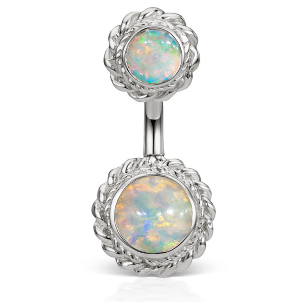 14K White Gold Opal Braided Solitaire Belly Ring by Maria Tash - Fixed (non-dangle) Belly Bar. Navel Rings Australia.