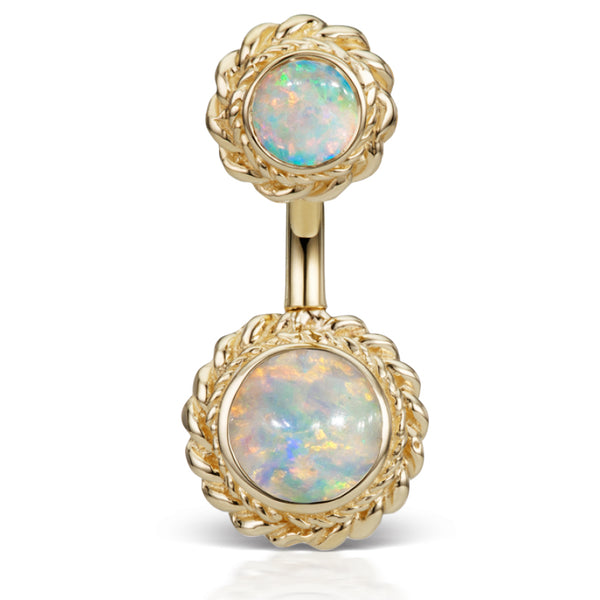14K Yellow Gold Opal Braided Solitaire Belly Ring by Maria Tash - Fixed (non-dangle) Belly Bar. Navel Rings Australia.