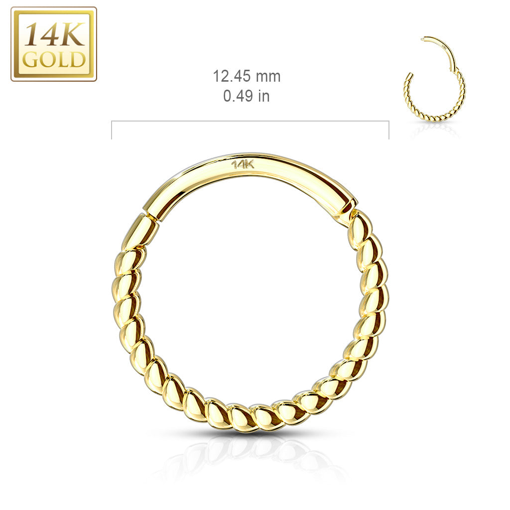 Earring. Quality Belly Bars. Braided Septum & Earring Body Jewellery in 14K Gold