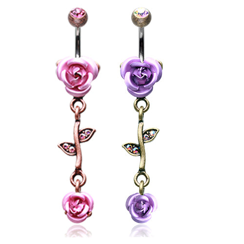 Brass Burnish Metallic Roses Belly Bars - Dangling Belly Ring. Navel Rings Australia.