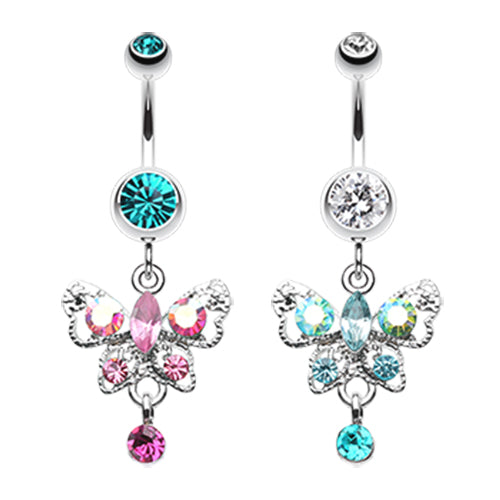 Moonlit Butterfly Belly Ring - Dangling Belly Ring. Navel Rings Australia.