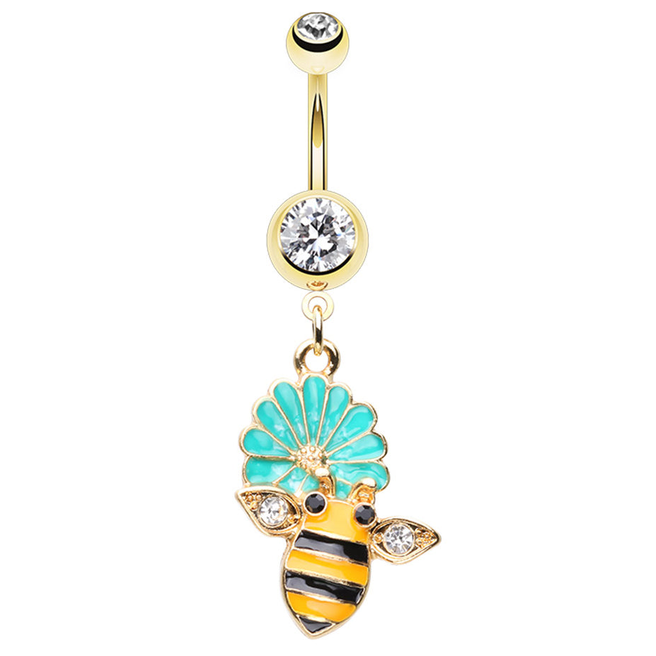 Bumble Buzz Flower Belly Dangle - Dangling Belly Ring. Navel Rings Australia.