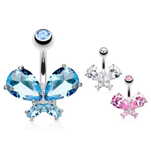 Classic Butterfly Bling Belly Ring - Fixed (non-dangle) Belly Bar. Navel Rings Australia.