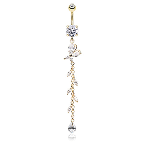 Bonnie Butterfly Belly Dangle in Gold - Dangling Belly Ring. Navel Rings Australia.