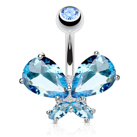 Aquamarine Classic Butterfly Bling Belly Ring