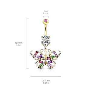 Crystal Stack Butterfly Belly Dangle - Dangling Belly Ring. Navel Rings Australia.