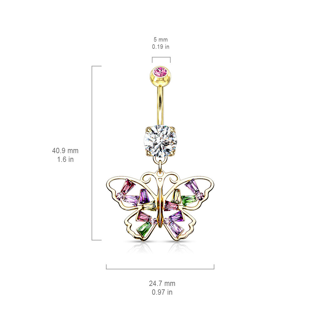 Dangling Belly Ring. Quality Belly Bars. Crystal Stack Butterfly Belly Dangle in Gold