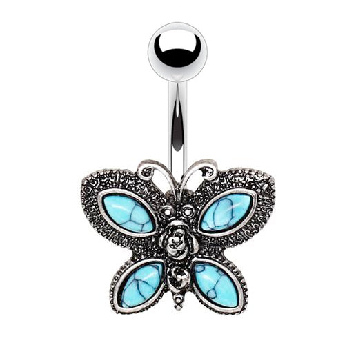 Bohemian Bathilda Butterfly Belly Bar - Fixed (non-dangle) Belly Bar. Navel Rings Australia.