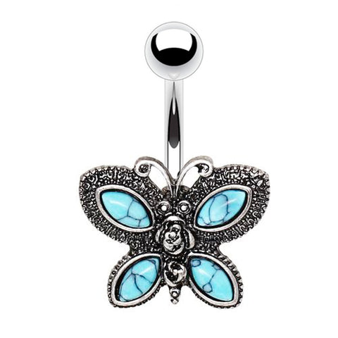 Fixed (non-dangle) Belly Bar. Belly Rings Australia. Bohemian Bathilda Butterfly Belly Bar