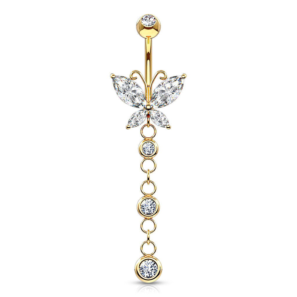 14K Gold Dangly Butterfly Navel Ring - Dangling Belly Ring. Navel Rings Australia.