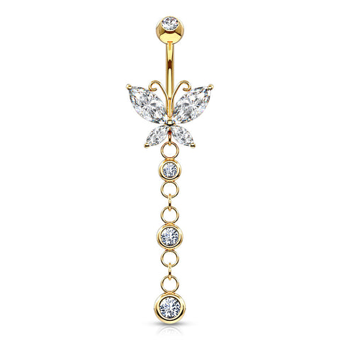 Dangling Belly Ring. Belly Rings Australia. 14K Gold Dangly Butterfly Navel Ring