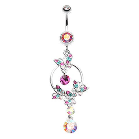 Dangling Belly Ring. Navel Rings Australia. The Butterfly Circuit Navel Ring