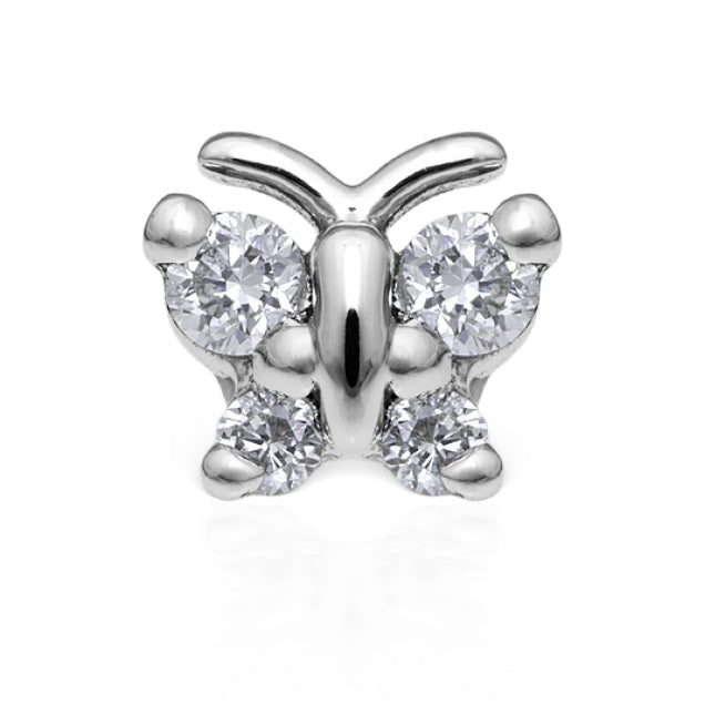 Earring. Quality Belly Bars. Diamond Butterfly Earring by Maria Tash in 18K White Gold. Flat Stud.