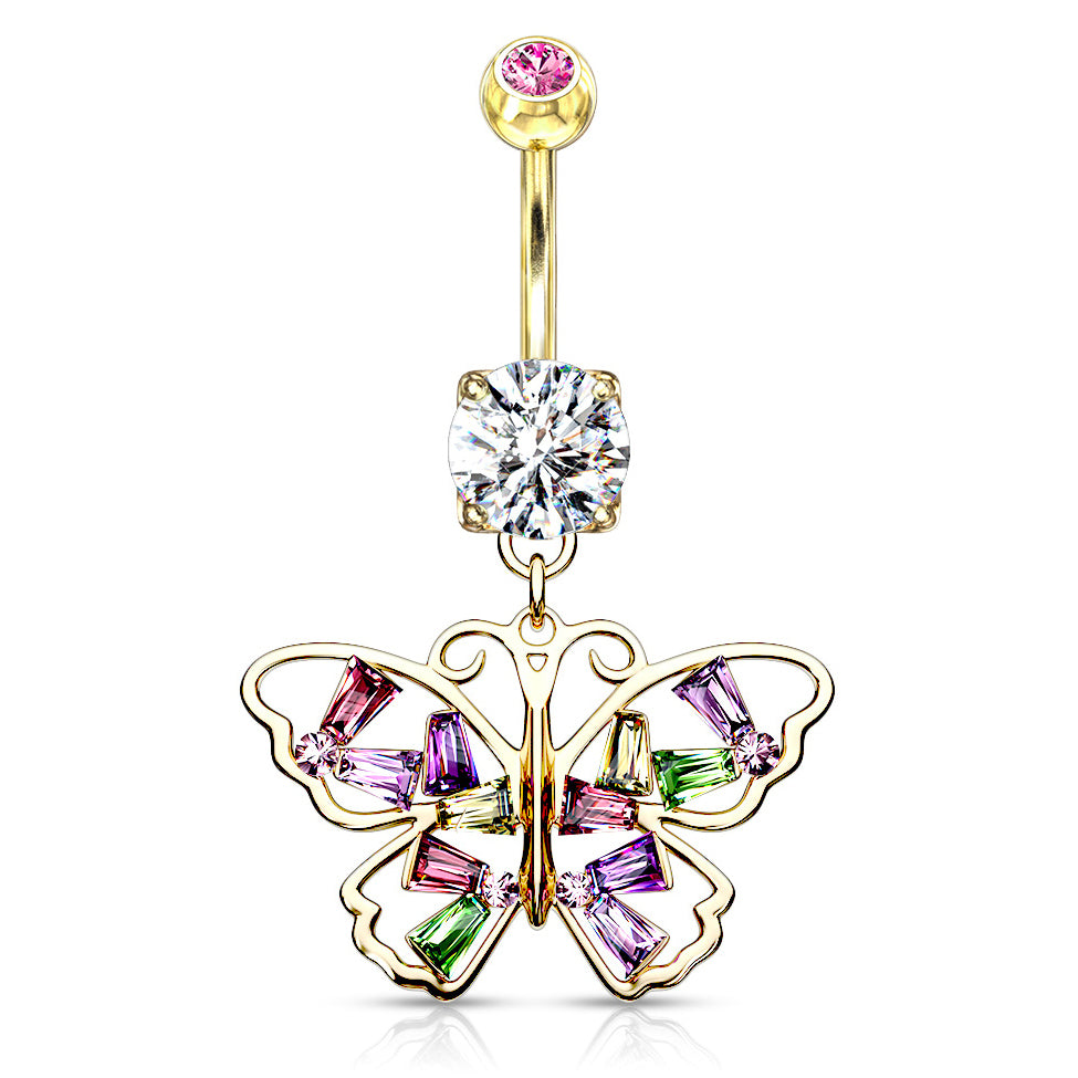 Crystal Stack Butterfly Belly Dangle in Gold - Dangling Belly Ring. Navel Rings Australia.
