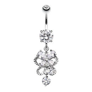 Butterfly Flurry Stack Belly Dangle - Dangling Belly Ring. Navel Rings Australia.