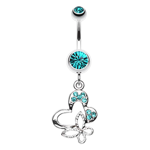 Dangling Belly Ring. Quality Belly Bars. Butterfly Fusion Belly Dangle