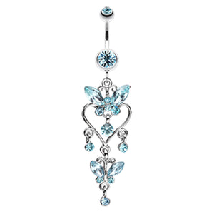 Sophistiqué Butterfly Chandelier Belly Ring - Dangling Belly Ring. Navel Rings Australia.