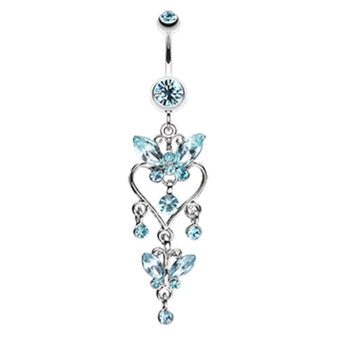 Aquamarine Sophistiqué Butterfly Chandelier Belly Ring